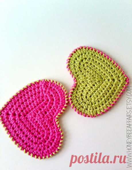 Cotton Washcloth Scrubbies Hearts Set of 2 от HoneyBeeAffairs