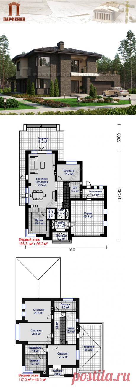 Проект двухэтажного дома с гаражом на 2 автомобиля ПА-278Н