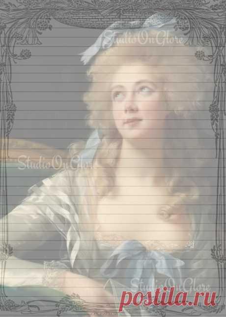 1783 античная картина Ноэля 5х7. Портрет И Подкладка   Etsy