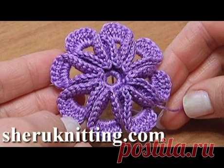 Crochet 8-petal 3D Flower Tutorial 5 3D Blume häkeln