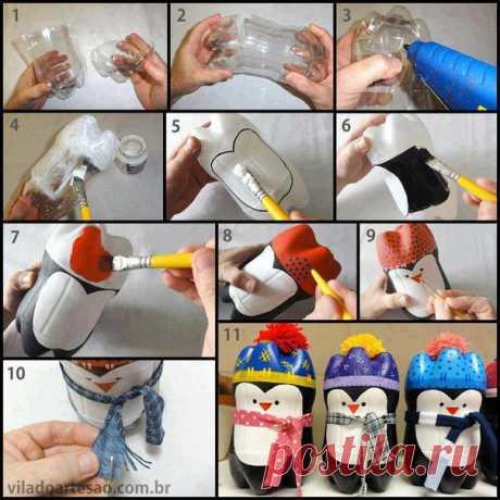 Идея создания забавных пингвинов из двух пластиковых бутылок