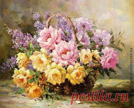 картина Розы в корзине - цветы,букет,букет цветов,картина,картина в подарок