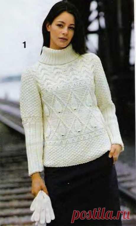 Узорчатый пуловер связан спицами. Картинки кликабельны и очень четкие
