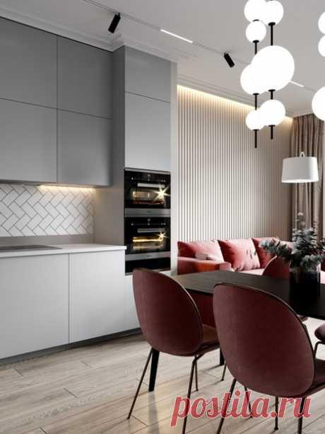 """Проект кухни-гостиной в Москве, площадь 28,2 кв.м от студии""""ДД"""""""