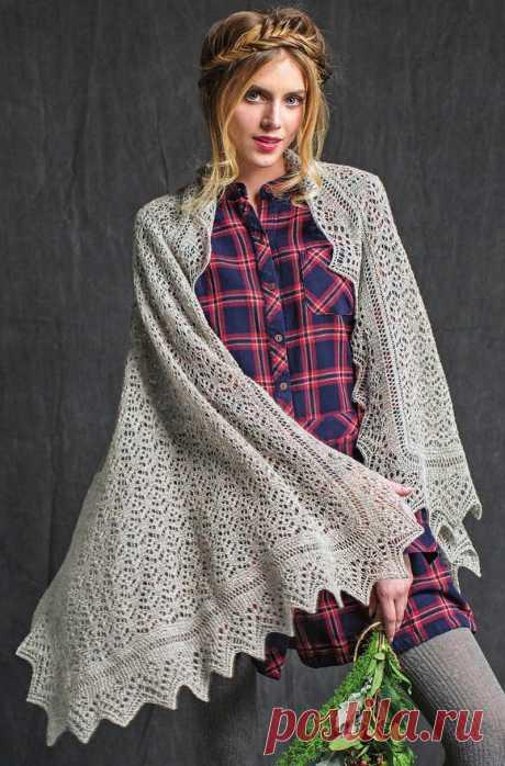 Ажурный вязаный платок спицами - Портал рукоделия и моды