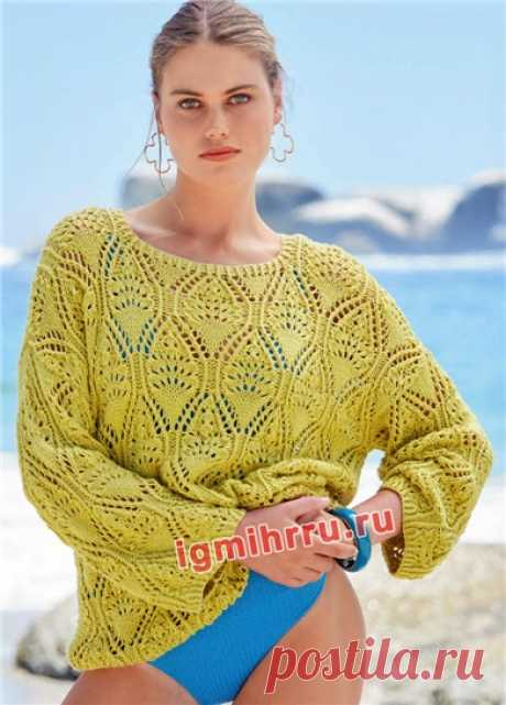 Летний ажурный пуловер солнечного цвета