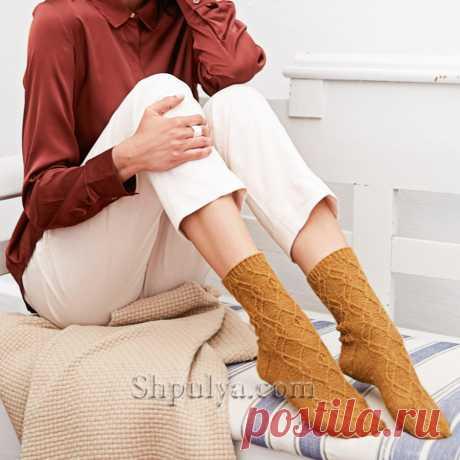 Носки с арановым узором — Shpulya.com - схемы с описанием для вязания спицами и крючком
