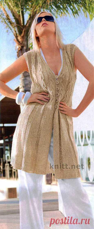 Удлиненный жилет | knitt.net | Все о вязании