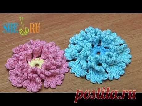 ▶ Вязаный цветок, Урок 33- Как связать волшебный цветочек