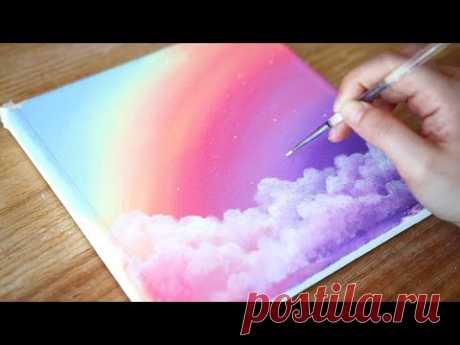 Мечтательный день 🌈Rainbow Sky & Clouds   Шаг за шагом Акриловая Живопись #144