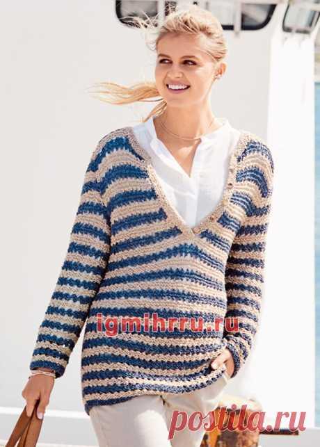 Пуловер с бретонскими полосками. Вязание спицами со схемами и описанием