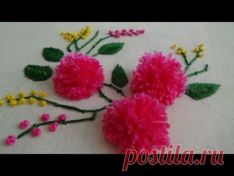 Hand Embroidery: Pom Pom Flowers