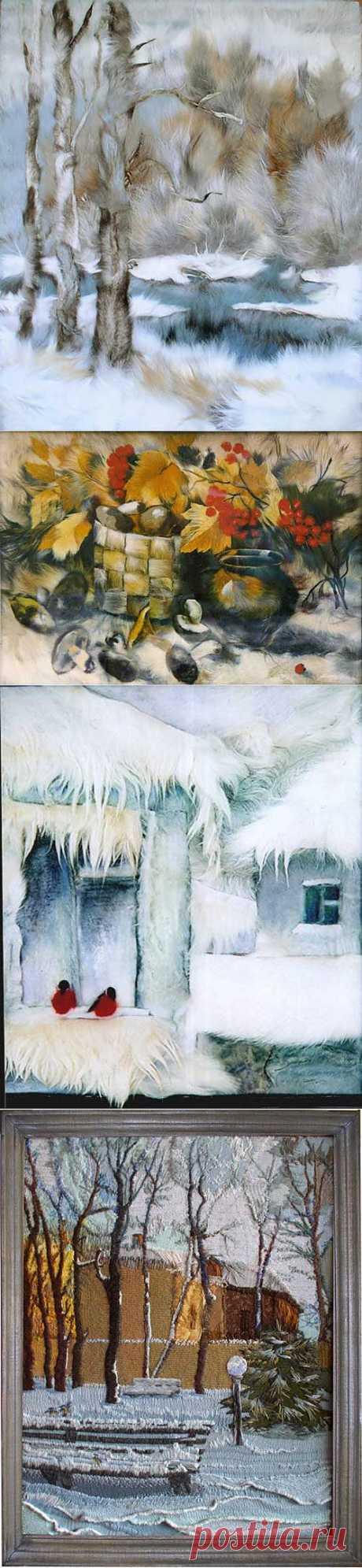 Картины из меха и трикотажа Елены Шмелевой | СВОИМИ РУКАМИ