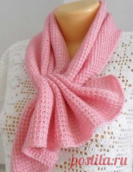 Нежный розовый шарф тунисским вязанием из категории Интересные идеи – Вязаные идеи, идеи для вязания
