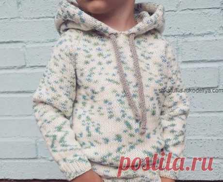 Детский худи спицами с капюшоном.