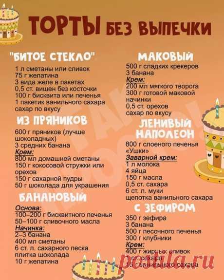 Кулинария>Торты без выпечки