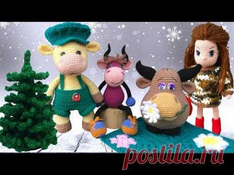 Вязаные игрушки к Новому году 2021 / Елочка, бычки, куклы | Knitted toys