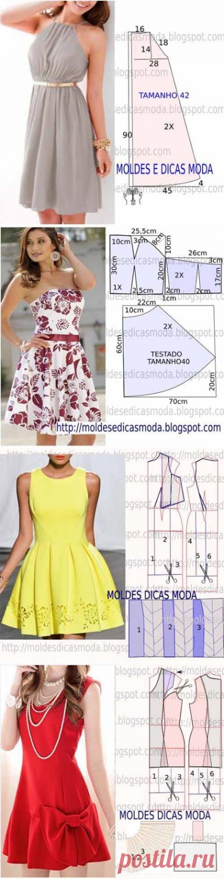 Еще 5 простых выкроек женских платьев