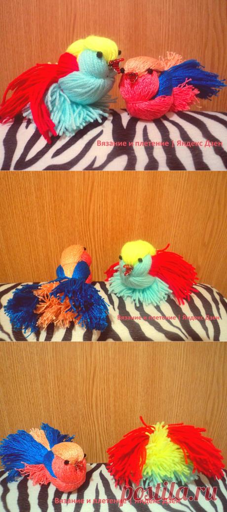 """""""Райские птички"""" из пряжи своими руками.   Птицы считаются символами ангелов, а птички с яркой окраской наиболее точно соответствуют описанию """"райских птиц""""."""