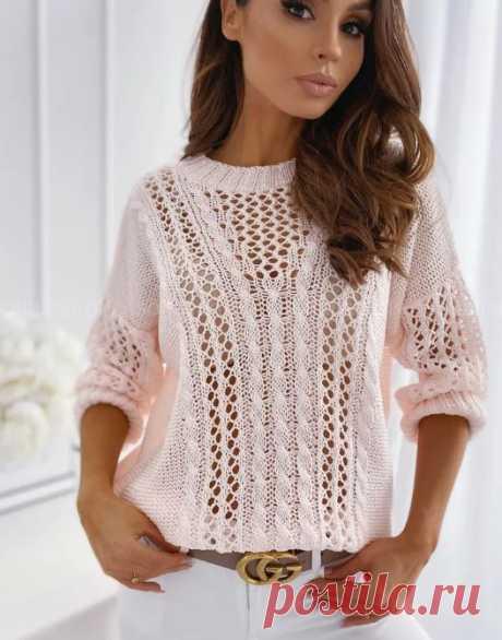 Ажурный пуловер спицами, схема