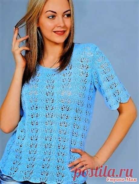 Красивейшая голубая блуза ажурным вертикальным узором. Спицы Видео МК. - ВЯЗАНАЯ МОДА+ ДЛЯ НЕМОДЕЛЬНЫХ ДАМ - Страна Мам