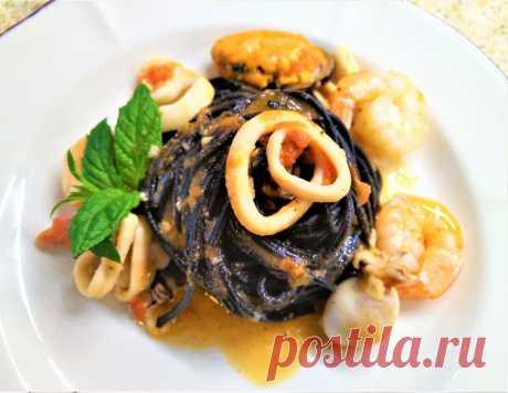 Паста нери с морепродуктами | Поделки, рукоделки, рецепты | Яндекс Дзен