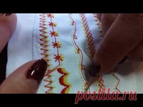 Двойная игла, декоративные строчки, цветные нитки