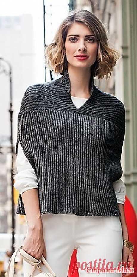 """Безрукавка """"Cocoon"""" от Theresa Schabes. Спицы. Размер S (M/L, XL/ХXL).  Окружность в области груди готовой безрукавки 106.5(117, 132) см.  Длина от плеча 40.5 (43, 44.5 см)."""