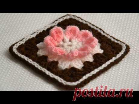 "Бабушкин квадрат ""Шоколадный тортик"" • Мастер-класс по вязанию крючком • ellej.org"