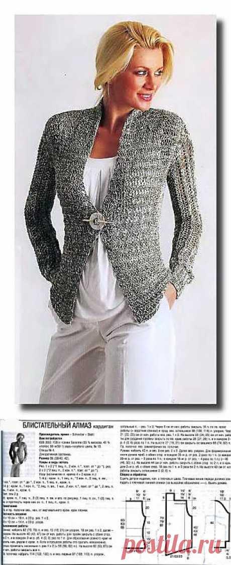 Блестящий кардиган. Вязание спицами. - 9 Марта 2010 - Вязание спицами, модели и схемы для вязания на спицах
