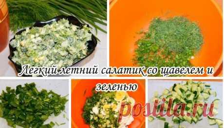 Легкий летний салатик со щавелем и зеленью  Ингредиенты:  Щавель — 1 пучок Укроп — 1 пучок Лук зеленый — 1 пучок Салат листовой — 1 пучок Огурец — 1–2 шт. Яйцо — 2 шт. Сметана — 50 г