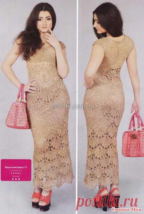 Нарядное платье крючком крупными веерами. Автор модели - Ярмаш Г.В.: фотография в альбоме красиво - Страна Мам