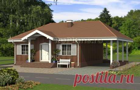 Rg5034   - Одноэтажный дом с террасой и навесом
