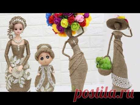 5 Beautiful Jute craft doll | How to decorate doll from jute rope | #2