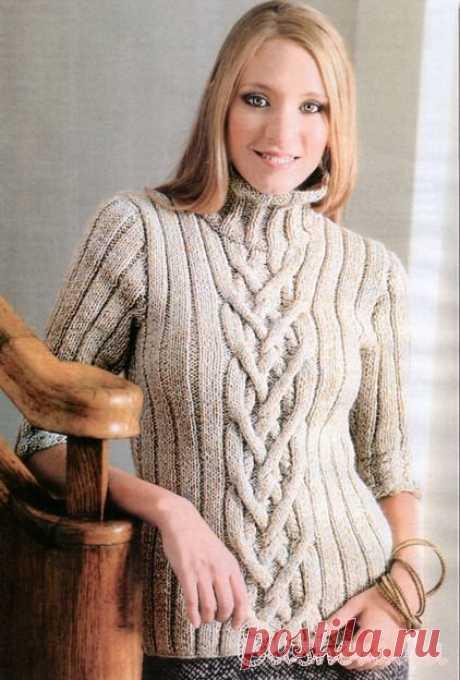 Женский бежевый пуловер вязаный спицами. Схема+описание | Блог elisheva.ru