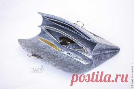 Шьем вместительный кошелек из фетра