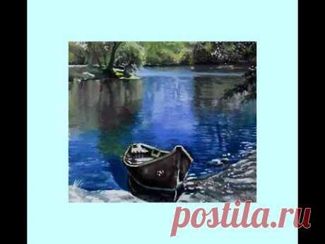 Как нарисовать летний пейзаж с озером и лодкой поэтапно/Как нарисовать красивый пейзаж
