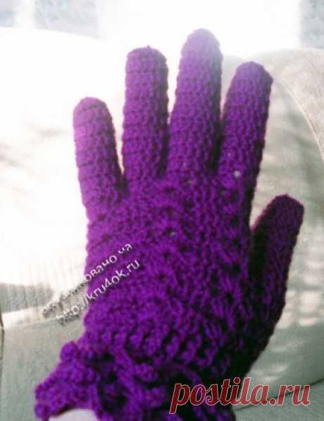 Вязаные крючком перчатки