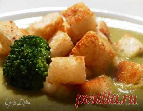 Нежнейший крем-суп из брокколи. Ингредиенты: брокколи свежая, овощной бульон, картофель