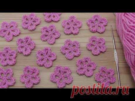 La labor de punto de la FLOR simple - la lección de la labor de punto para los principiantes - Lesson crochet flowers