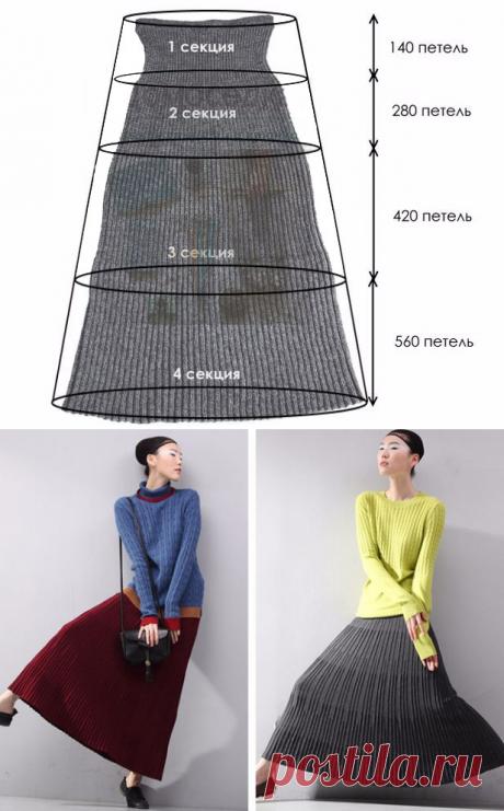 Струящаяся плиссированная юбка спицами из Японии – схема вязания с описанием