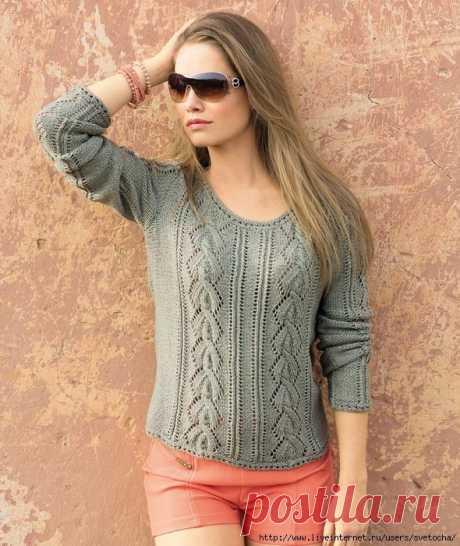 Пуловер с ажурными косами — Сделай сам, идеи для творчества - DIY Ideas