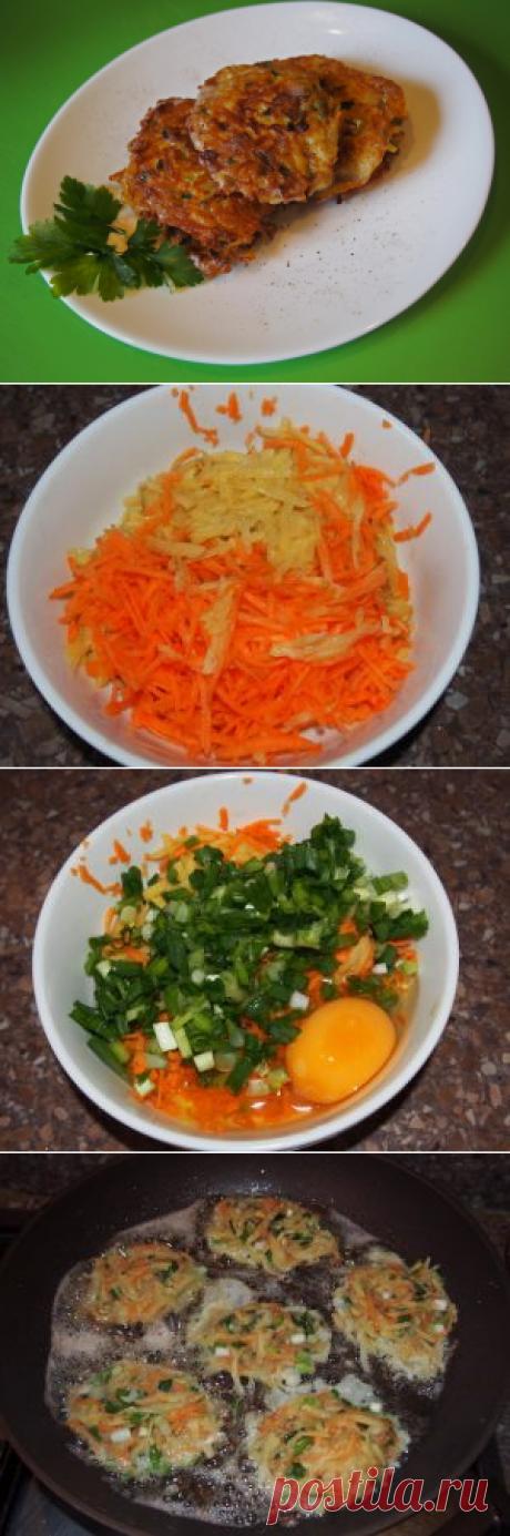 Картофельные драники с морковью и зеленым луком Классический рецепт драников можно вкусно и аппетитно разнообразить, добавив всего лишь к картошке сырую морковь и зеленый лук.