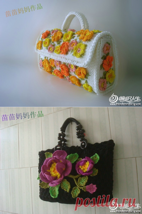 Вязание крючком.Сумочки с цветами.Идеи.