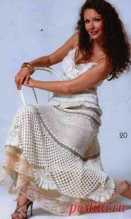 Ажурная юбка выполнена крючком. Длинная ажурная юбка крючком описание |