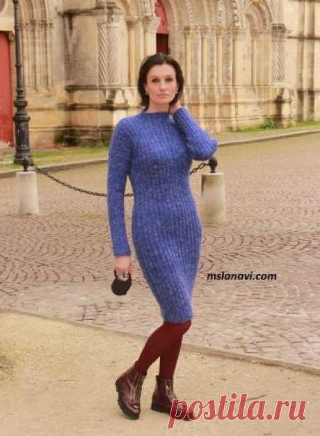 Вязаное приталенное платье-резинка | Вяжем с Лана Ви