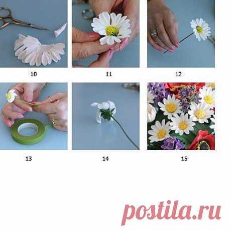 Ромашки из полимерной глины | Уроки лепки