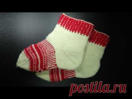 Knitting of socks Tunisian hook of  How to crochet adult socks