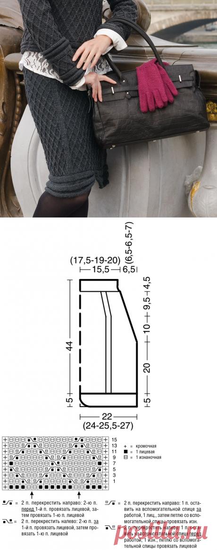 Вязаная юбка с узором в клетку
