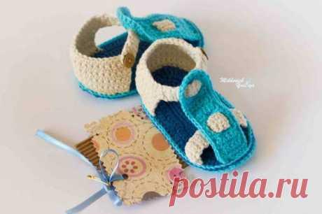 Стильные пинетки-сандалики для малыша. МК.